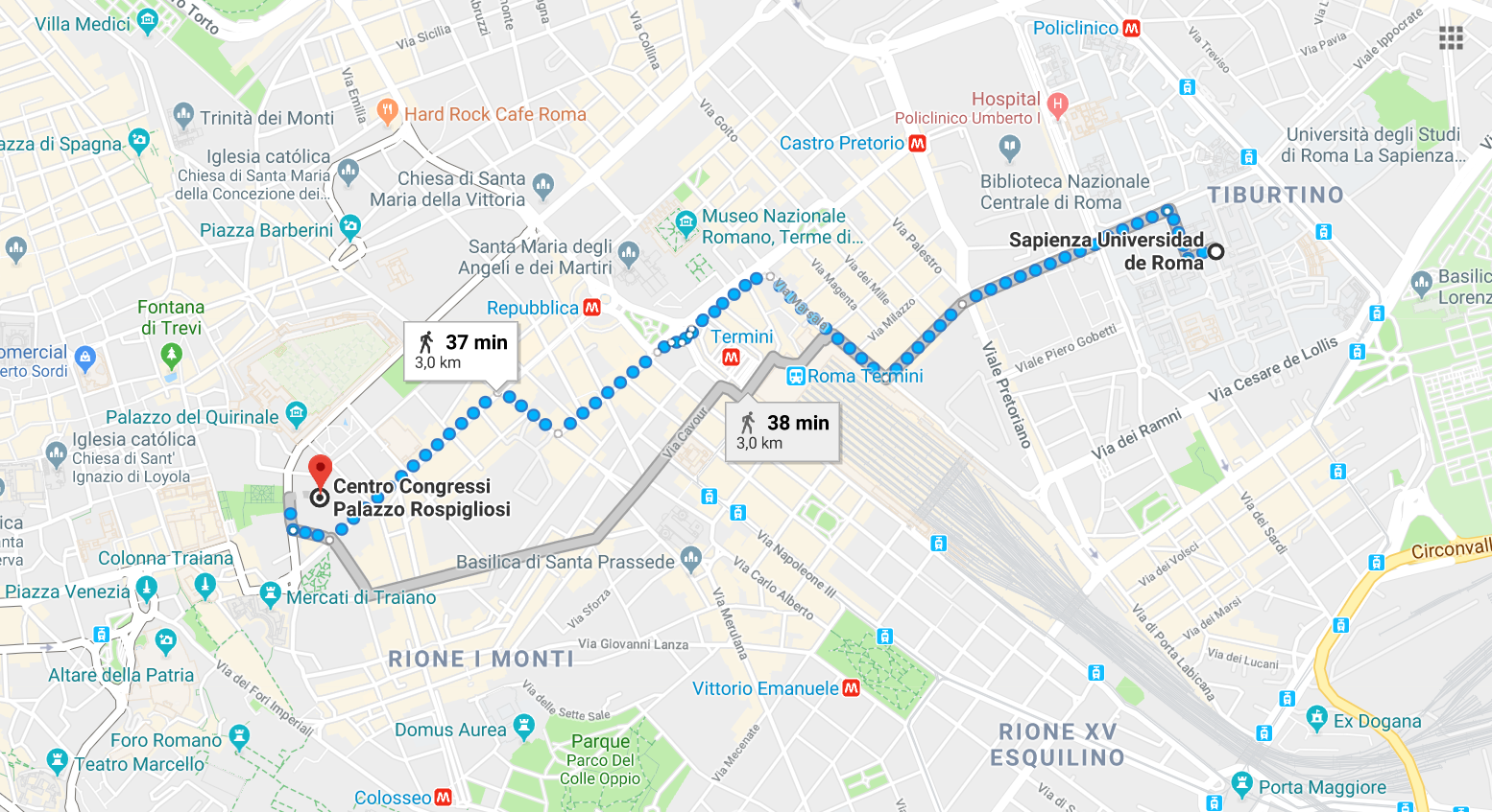 Route from UNIROMA University to the place of dinner
